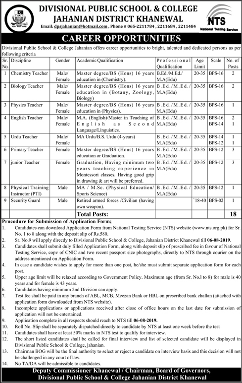 Divisional Public School Jobs NTS Application Form