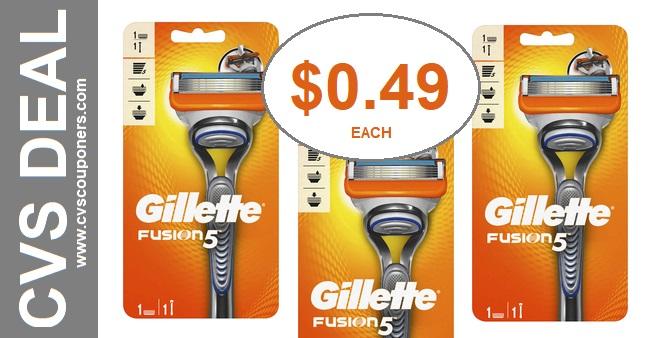 Gillette Fusion 5 Razor CVS Deal $0.49 113-119