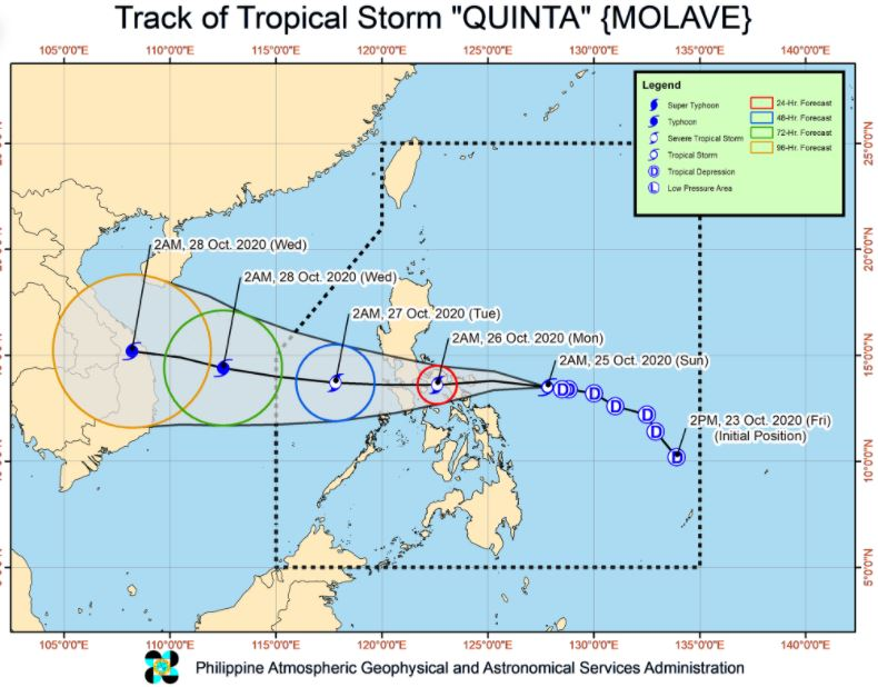 'Bagyong Quinta' PAGASA weather update October 25, 2020