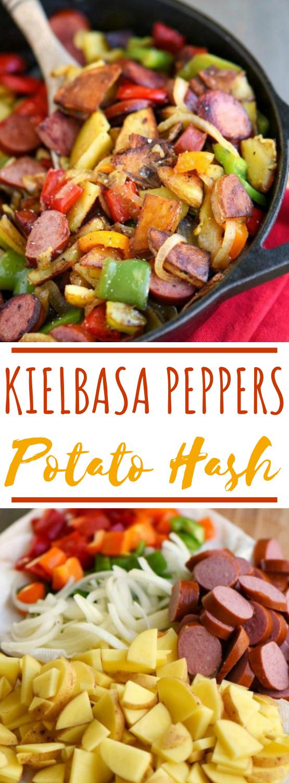 Kielbasa, Peppers, and Potato Hash #breakfast #dinner #stirfry #recipes #onepan