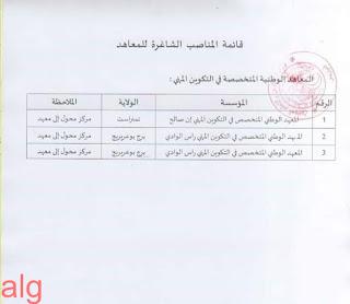 قائمة المؤسسات المعنية بشغور 30 منصبا مدير مركز ومدير معهد وطني متخصص