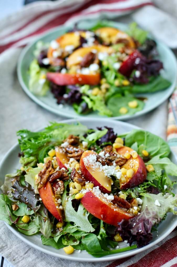 Baby Mixed Greens, Peach, and Corn Salad with Balsamic Maple Vinaigrette