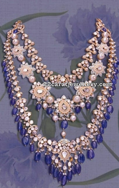 Three Layer Polki Necklace with Sapphire Drops