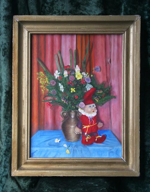 картина Виталия Бабенко: гном и цветы