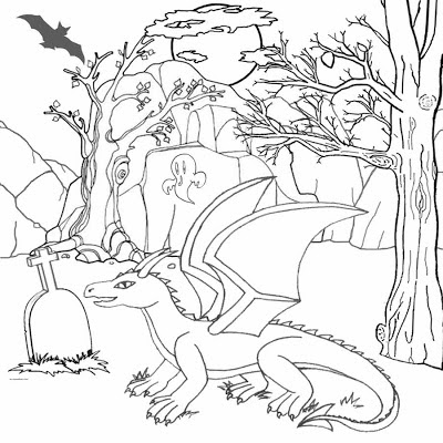 Trick or treat free Halloween dragon printable pictures for kids coloring pages to colour for fun