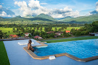 View from infinity swimming pool at C View Home in Pua, Nan - North Thailand