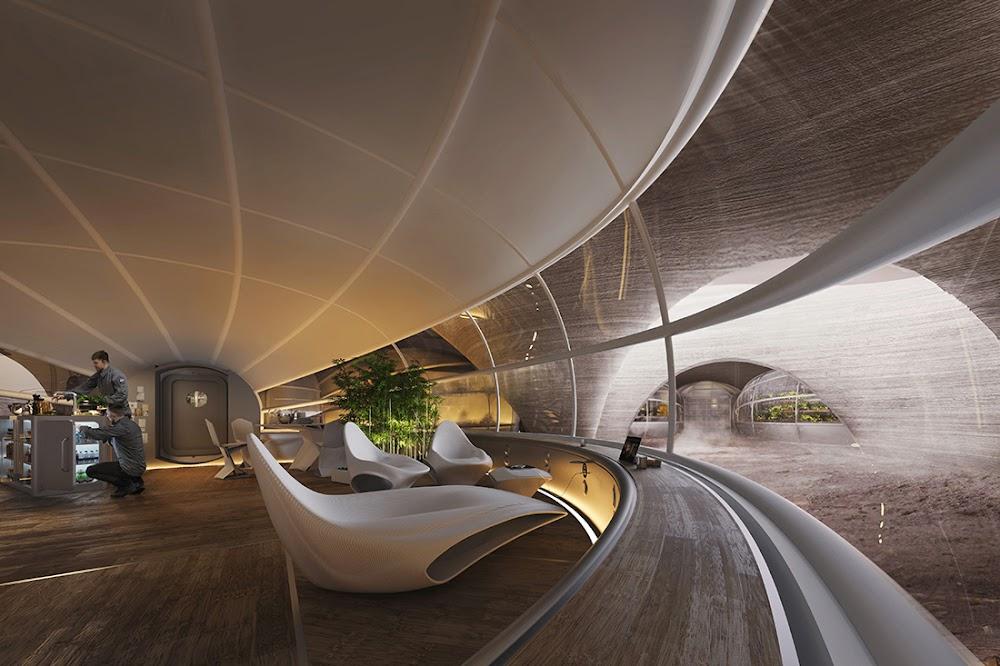 Mars habitat interior by Hassell & EOC (NASA's 3D-Printed Habitat Challenge)