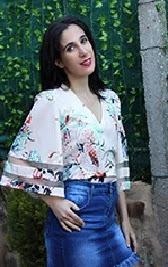 LookbookStore Women's V Neck Shirt Printed Top 3/4 Bell Sleeve Mesh Panel Blouse
