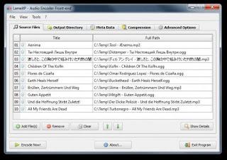 Lame XP Audio Konverter Screenshot vom Hauptfenster