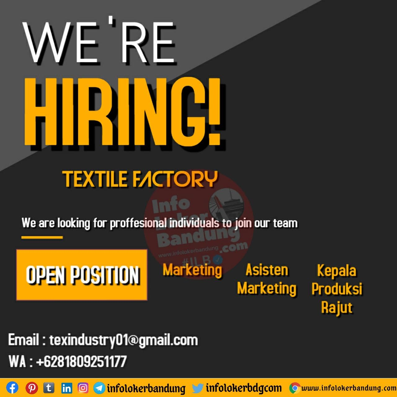 Lowongan Kerja Textile Factory Bandung November 2020