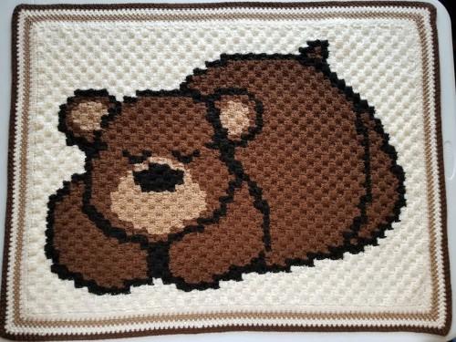 Sleepy Bear Baby Blanket - Free Pattern