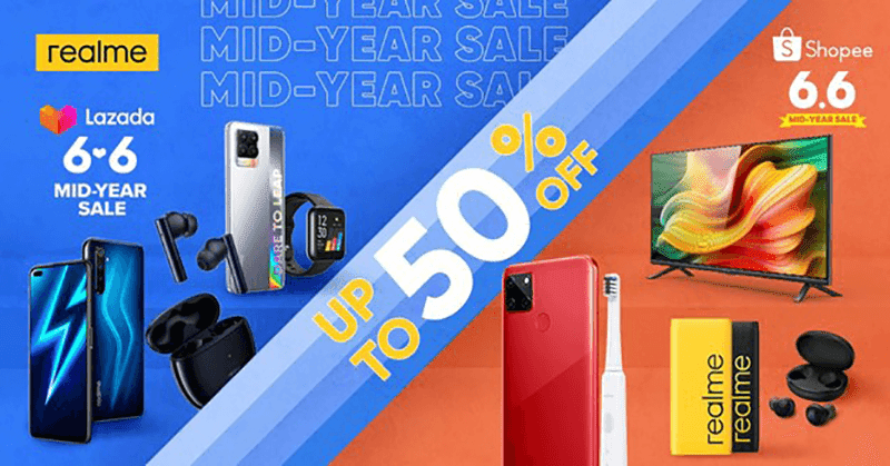 Up to 50 percent off on realme devices during the Shopee and Lazada 6.6 Mid-Year Sale