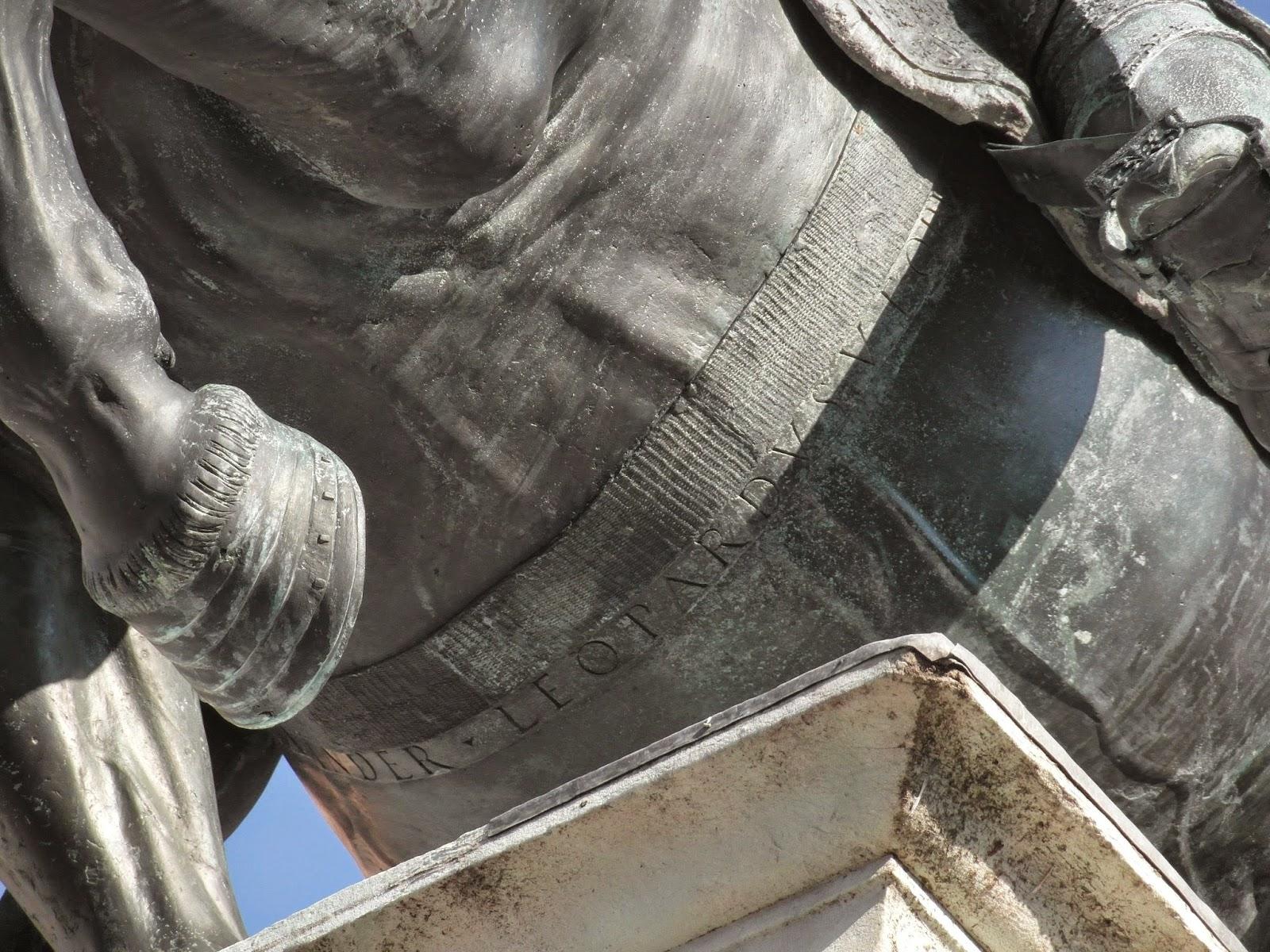 The inscription of Leopardi's name on the equestrian statue of Bartolomeo Colleoni in Venice