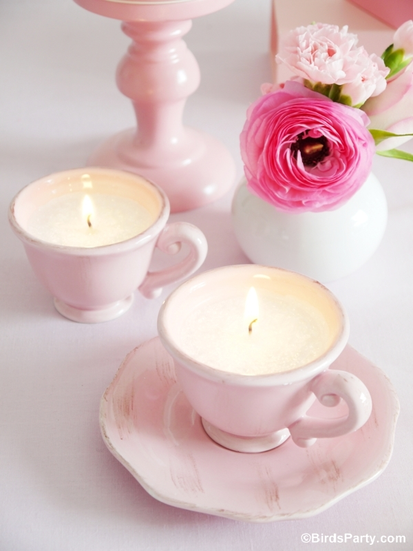 DIY Tea Cup Scented Candles Tutorial - BirdsParty.com