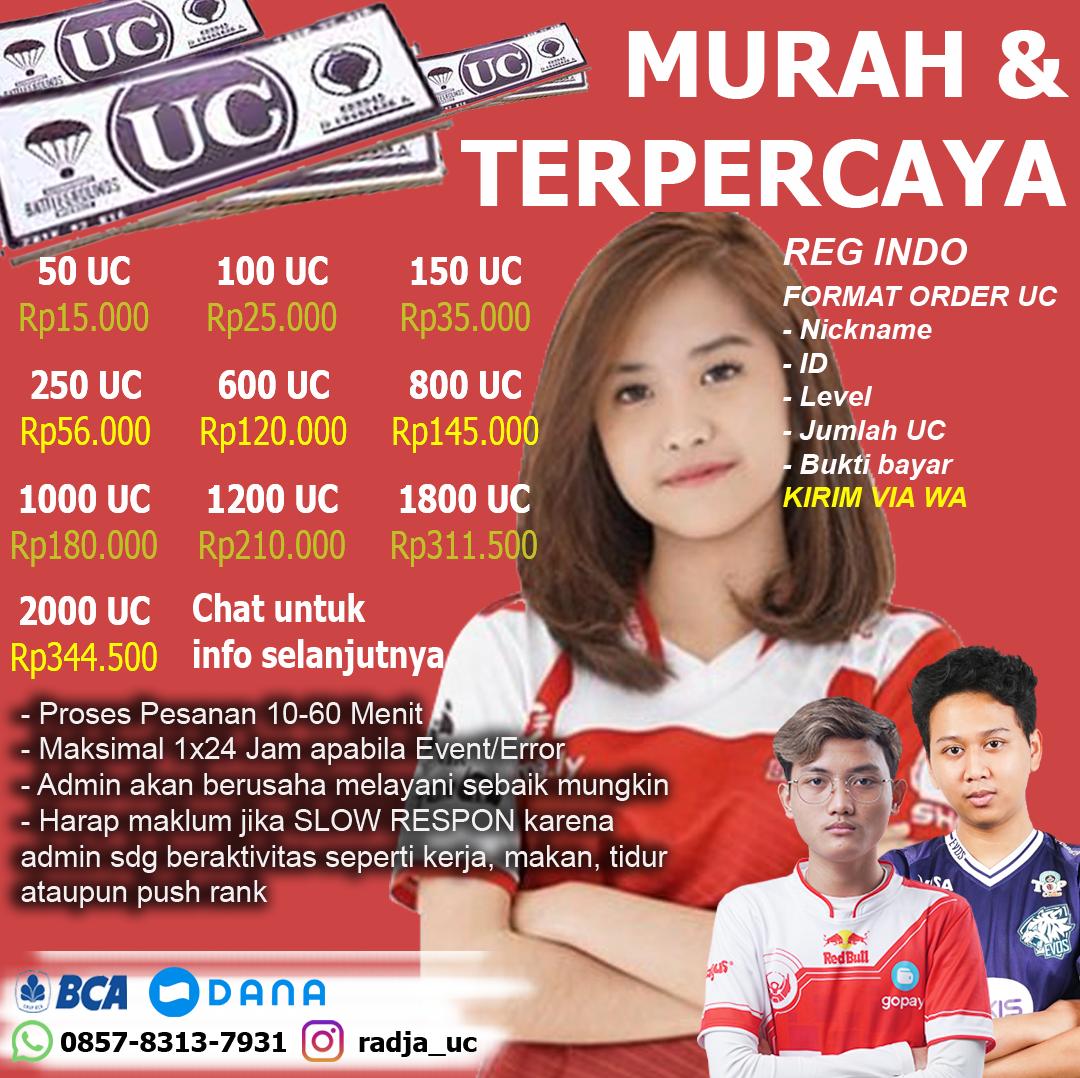 Top Up UC Termurah dan terpercaya di Indonesia @Radja_UC