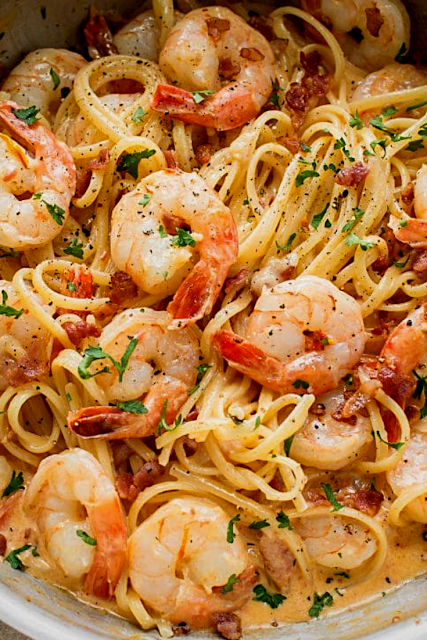 Shrimp and Bacon Pasta