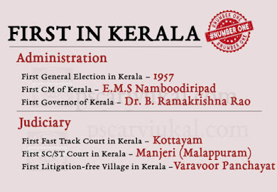 First in Kerala – Administration & Judiciary