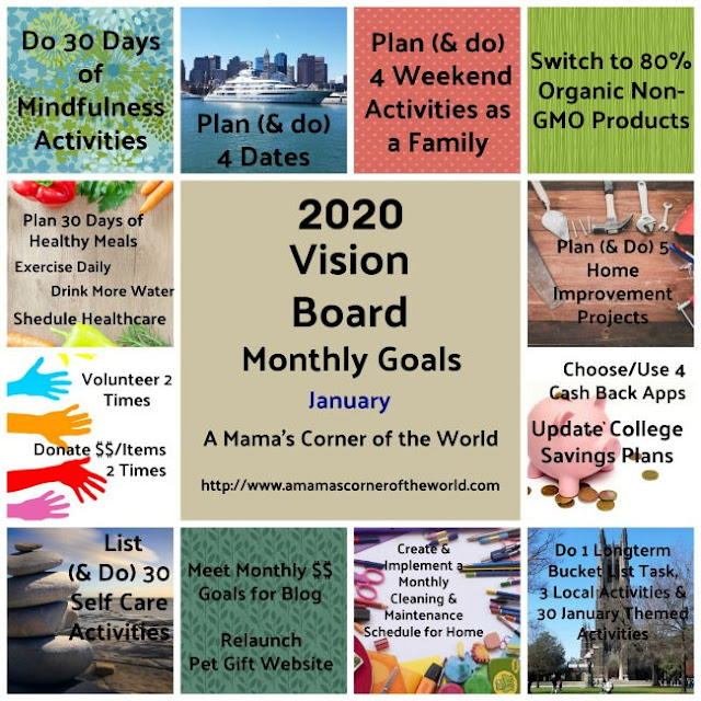 Example Monthly Action Board of New Year's Goals