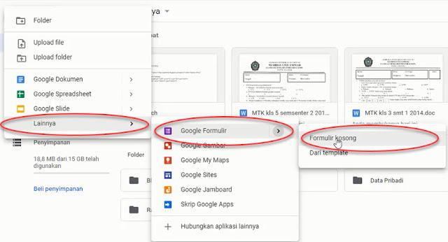 Membuat formulir kosong di Google Form