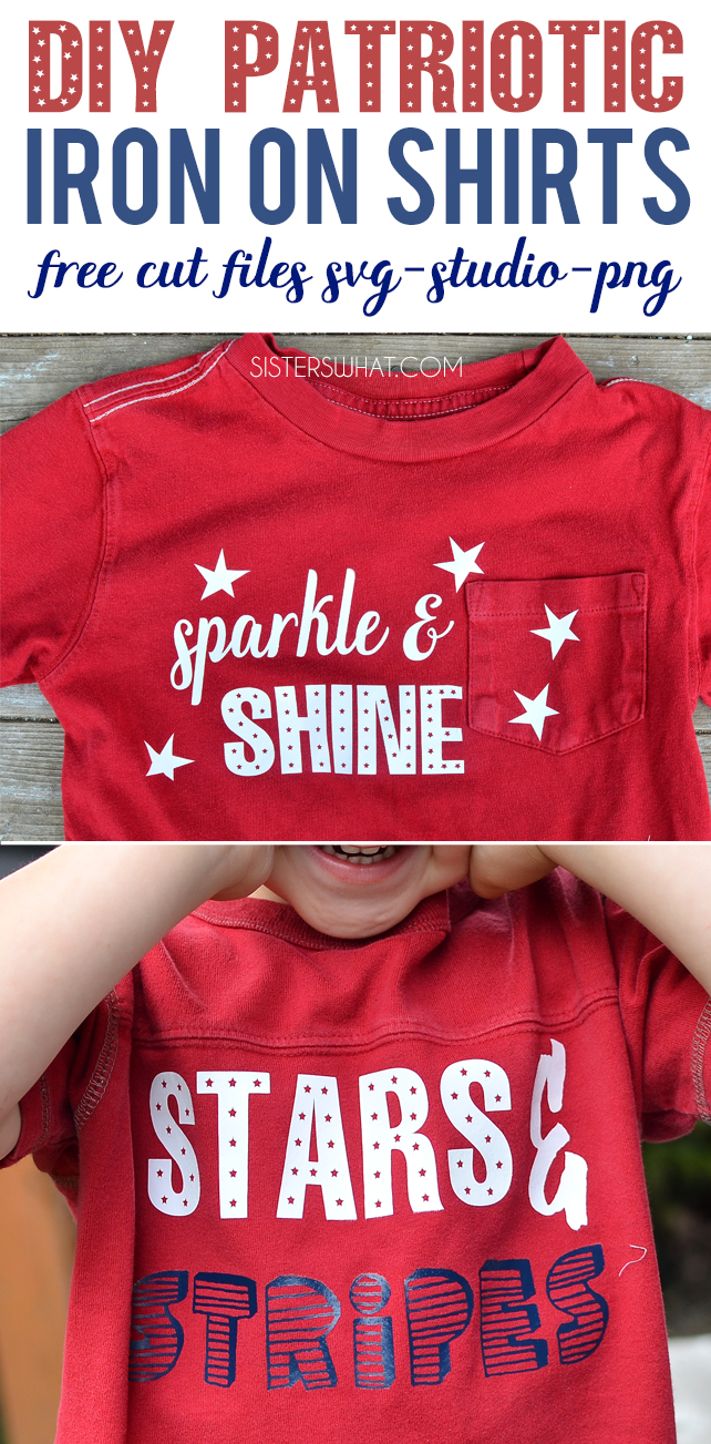 DIY Patriotic iron shirts for kids or adults! free cut files for silhouette or svg