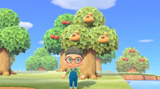 A protagonist player character standing in front of a money tree in Animal Crossing: New Horizons