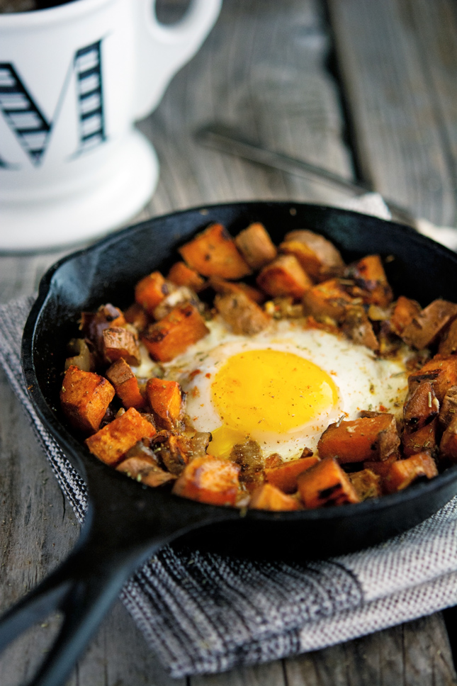 Sweet Potato and Caramelized Onion Hash with Baked Eggs