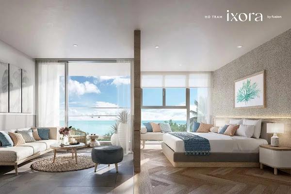 phòng khách trong căn hộ penthouse tại dự án Ixora Hồ Tràm thuộc huyện Xuyên Mộc