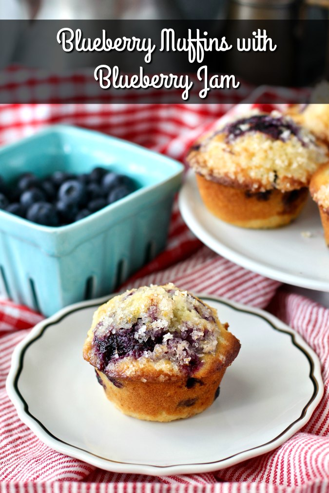 Blueberry Muffins with Blueberry Jam and Lemon Sugar Topping