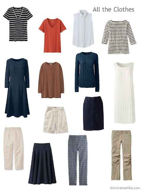 14-piece travel capsule wardrobe in navy, ivory, tan and rust