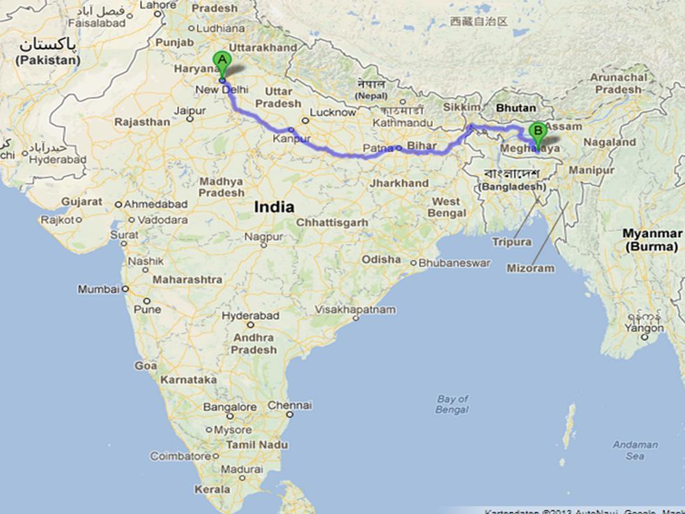 Fluss Ganges Karte