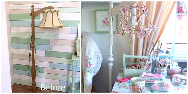 I want one of these lamps! What would I search for if I was looking for one of these on the auction sites? via Shabby Roses Cottage.