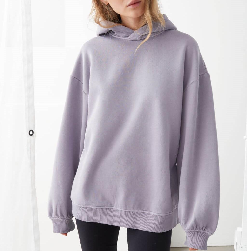lilac oversized hooded boxy sweatshirt