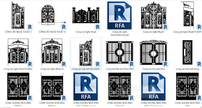 Thư viện Revit các loại cổng sắt trang trí nghệ thuật
