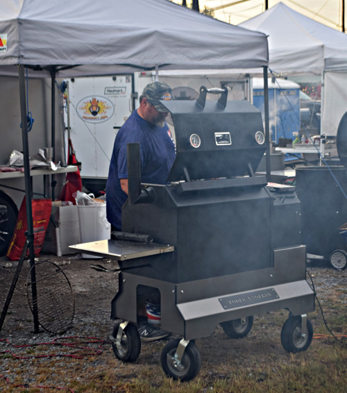 Using a Yoder pellet cooker at the 2019 Praise The Lard BBQ Contest