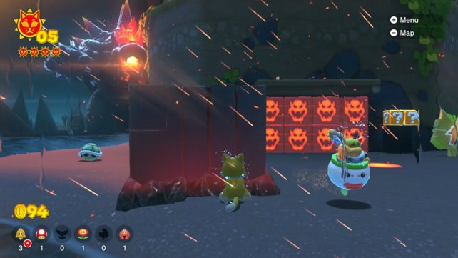 Use the time and lure angry Bowser to the glowing Bowser blocks to clear the way to a cat insignia.