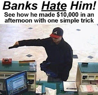 bank robber with pistol and cap disguise