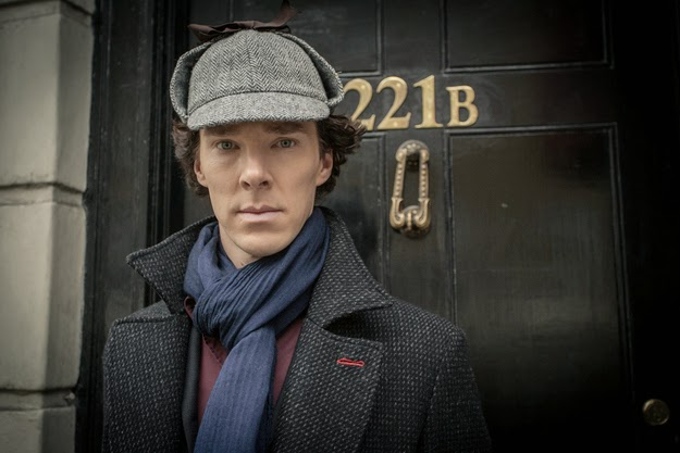 Benedict Cumberbatch as Sherlock Holmes wearing deerstalker in BBC Sherlock Season 3 Episode 1 The Empty Hearse