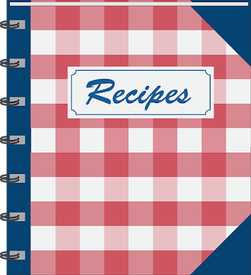 "red gingham book mock up with navy corners. The word ""recipes"" is on the top centre of the book cover."