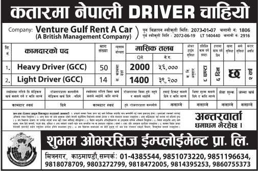 Free Visa & Free Ticket, Jobs For Nepali In Qatar, Salary -Rs.56,000/
