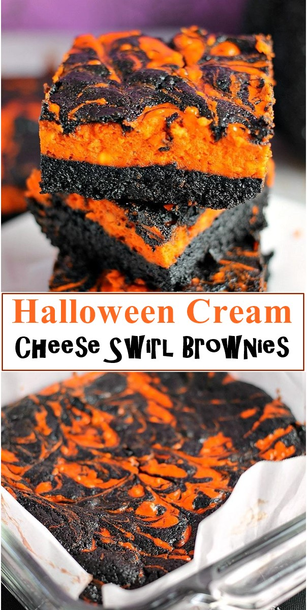 Halloween Cream Cheese Swirl Brownies #halloweenrecipes