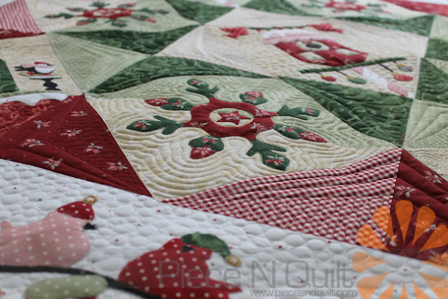 Piece N Quilt Applique Christmas Quilt Custom Machine