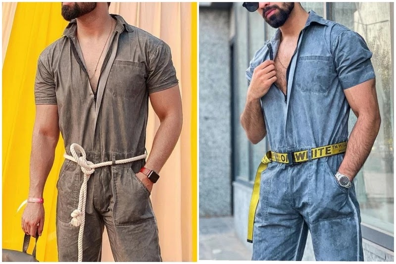 Style accessories wity men's jumpsuit.