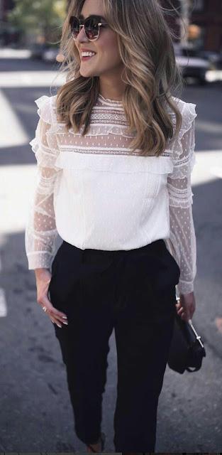 Lace white blouse