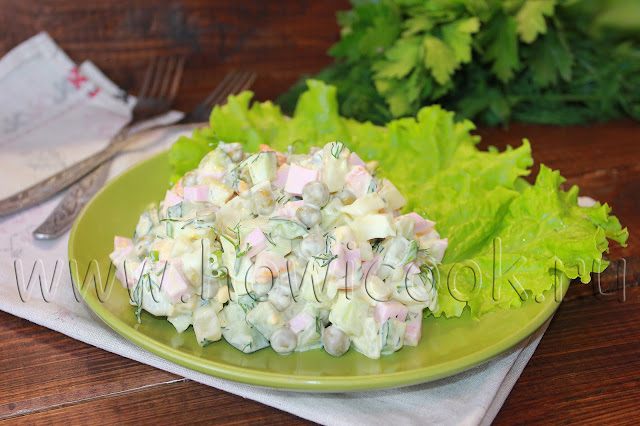 рецепт салата оливье со свежими огурцами и зеленью