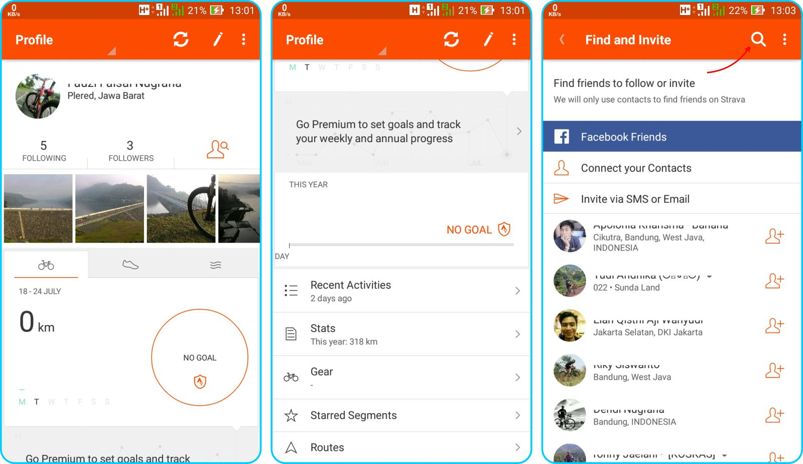 Strava Running and Cycling GPS - Tampilan Halaman Profile Pada Strava