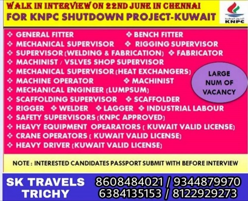 KUWAIT JOBS : REQUIRED FOR KNPC SHUTDOWN PROJECT IN KUWAIT