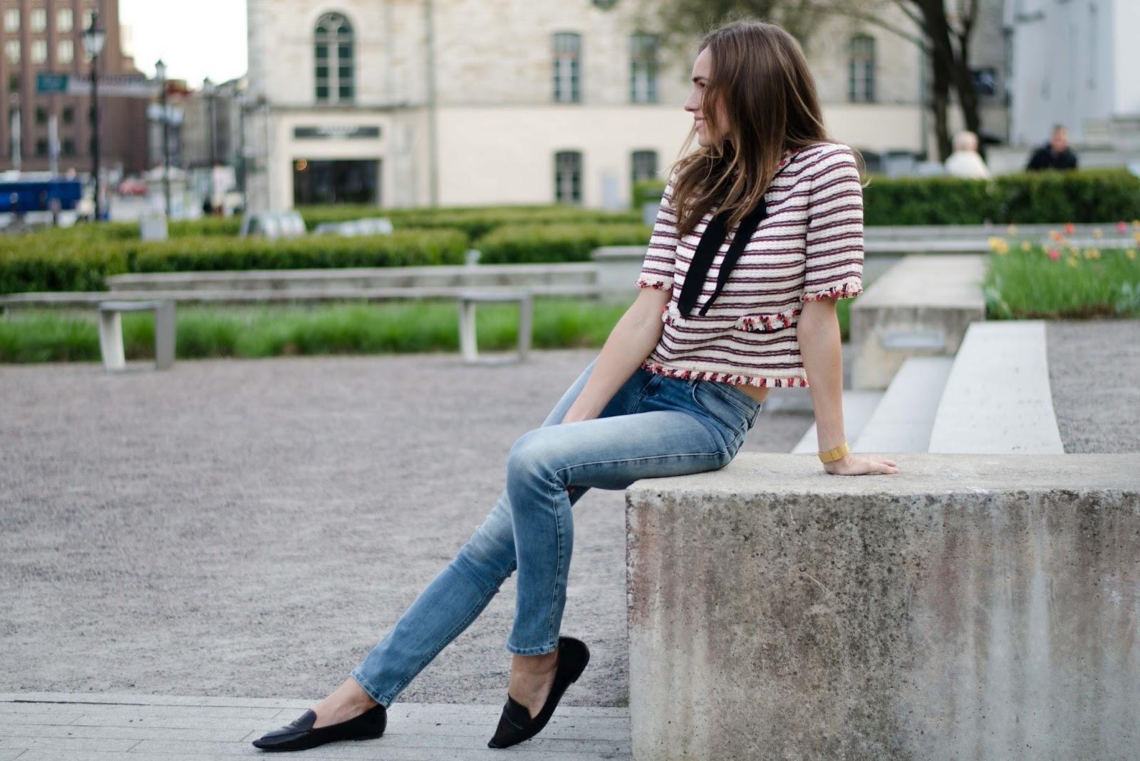 kristjaana mere strited tweed bow top skinny jeans outfit