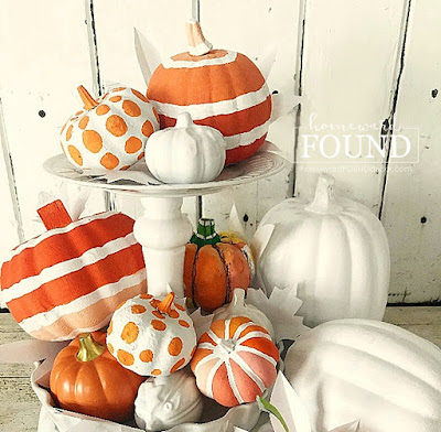 fall, fall decorating, fall home decor, tiered tray, tiered tray decor, styling a tiered tray, pumpkins, pumpkin decor, decorating with pumpkins, painted pumpkins, paper pumpkins, ceramic pumpkins, fall leaves, paper leaves, color, colorful home decor, diy, diy home decor, diy projects, use what you have decorating, tabletop decor, kitchen island decor, home decor diy