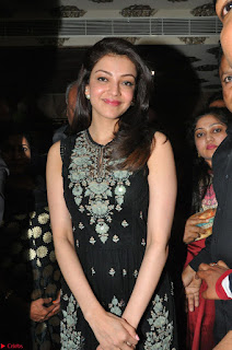 Kajal Aggarwal in lovely Black Sleeveless Anarlaki Dress in Hyderabad at Launch of Bahar Cafe at Madinaguda 051.JPG