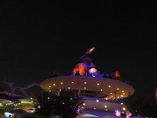 Rocket Rods Station at Night Disneyland